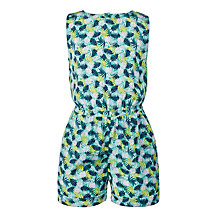 Buy John Lewis Girls' Floral Woven Playsuit, Green Online at johnlewis.com