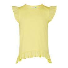 Buy John Lewis Girls' Broderie Trim T-Shirt, Yellow Online at johnlewis.com