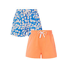 Buy John Lewis Girls' Floral Shorts, Pack of 2, Blue/Orange Online at johnlewis.com