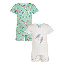 Buy John Lewis Girls' Bird Print Short Pyjamas, Pack of 2, Multi Online at johnlewis.com