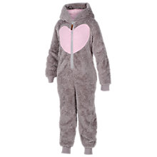 Buy Fat Face Girls' Bear Fleece Onesie, Grey Online at johnlewis.com