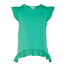 Buy John Lewis Girls' Broderie Trim T-Shirt, Green Online at johnlewis.com