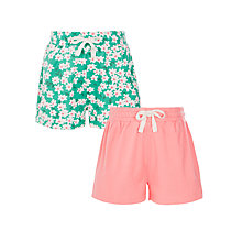 Buy John Lewis Girls' Floral Shorts, Pack of 2, Green/Pink Online at johnlewis.com