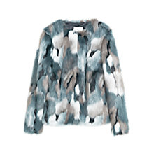 Buy Mango Faux Fur Coat, Dark Blue Online at johnlewis.com