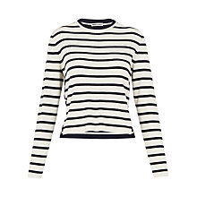 Buy Whistles Stripe Crop Knit Jumper, Blue/White Online at johnlewis.com