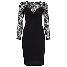 Buy French Connection Leah Lace Long Sleeve Dress, Black Online at johnlewis.com