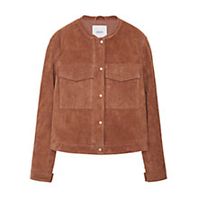 Buy Mango Flap Pocket Suede Jacket, Dark Brown Online at johnlewis.com
