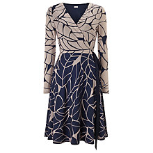Buy Phase Eight Kelsie Leaf Print Wrap Dress, Navy/Toast Online at johnlewis.com