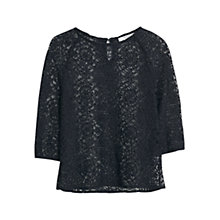 Buy Mango Floral Lace T-shirt, Black Online at johnlewis.com