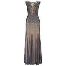Buy Adrianna Papell Beaded Gown With Illusion Neck, Gunmetal Online at johnlewis.com