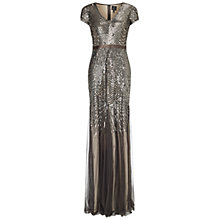 Buy Adrianna Papell Cap Sleeve Beaded Gown, Smoke Online at johnlewis.com