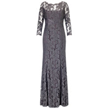 Buy Adrianna Papell Lace Gown With Beaded Banding, Gunmetal Online at johnlewis.com