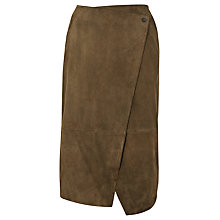 Buy Whistles Asymmetric Wrap Suede Skirt, Khaki Online at johnlewis.com