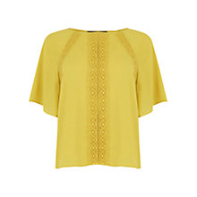 Buy Oasis Bobble Fluted Sleeve Top, Ochre Online at johnlewis.com
