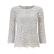 Buy Phase Eight Marin Crochet Lace Blouse, Silver Grey Online at johnlewis.com