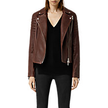 Buy AllSaints Alder Leather Biker Jacket, Sahara Online at johnlewis.com
