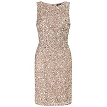 Buy Adrianna Papell Sleeveless Beaded Cocktail Dress, Mink Online at johnlewis.com