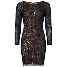 Buy Adrianna Papell Diamond Beaded Cocktail Dress, Black/Nude Online at johnlewis.com