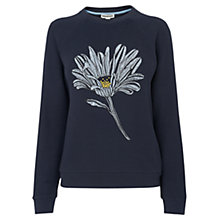 Buy Whistles Embroidered Flower Jumper, Navy Online at johnlewis.com