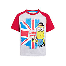 Buy Minions Boys' Hello London Banana T-Shirt, Grey/Red Online at johnlewis.com