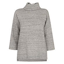 Buy Whistles Cowl Neck Zip Sweatshirt, Grey Online at johnlewis.com