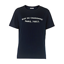 Buy Whistles Rue De Charonne Logo T-shirt, Navy Online at johnlewis.com