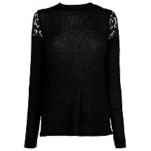 Buy Whistles Wool Mix Lace Insert Top, Black Online at johnlewis.com