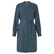 Buy Jigsaw Silk Oval Geo Shirt Dress, Slate Blue Online at johnlewis.com