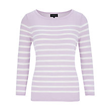 Buy Viyella Merino Stripe Jumper, Lilac Online at johnlewis.com