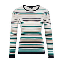 Buy Viyella Petite Stripe Merino Jumper, Green Online at johnlewis.com
