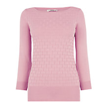Buy Oasis Textured Boat Neck Jumper, Powder Pink Online at johnlewis.com