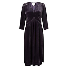 Buy East Lace and Velvet Dress, Plum Online at johnlewis.com