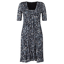 Buy Jigsaw Textured Leaf Print Dress, Blue Online at johnlewis.com