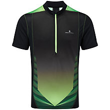 Buy Ronhill Advance Short Sleeve Half Zip Running Top, Black/Green Online at johnlewis.com