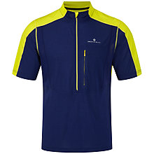 Buy Ronhill Trail Short Sleeve Zip T-Shirt, Midnight Blue/Sun Online at johnlewis.com