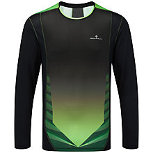 Buy Ronhill Advance Long Sleeve Crew Running Top, Black/Green Online at johnlewis.com