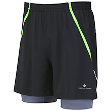 "Buy Ronhill Advance Twin 5"" Shorts, Black/Granite Online at johnlewis.com"