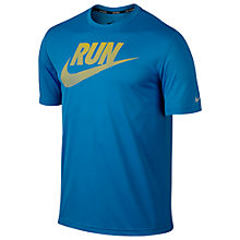 Buy Nike Dri-FIT Graphic Challenger Running Top, Photo Blue/Yellow Online at johnlewis.com