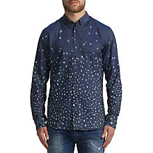 Buy BOSS Orange Patterned Slim Fit Edipoe Shirt, Dark Blue Online at johnlewis.com