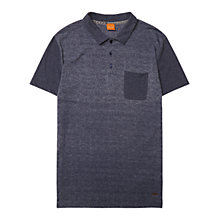 Buy BOSS Orange Pauleo Chevron Pattern Polo Shirt, Dark Blue Online at johnlewis.com