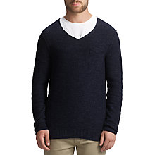 Buy BOSS Orange Abremis V-Neck Cotton Jumper, Dark Blue Online at johnlewis.com