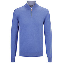 Buy Hackett London Half Zip Knitted Top, Royal Blue Online at johnlewis.com