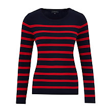 Buy Viyella Stripe Button Detail Jumper, Navy Online at johnlewis.com
