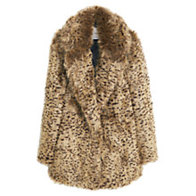 Buy Mango Leopard Print Faux Fur Coat, Medium Brown Online at johnlewis.com