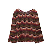 Buy Mango Geometric Openwork Top, Dark Red Online at johnlewis.com