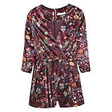 Buy Mango Floral Velvet Jumpsuit, Dark Red Online at johnlewis.com