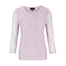 Buy Viyella Stretch Lace Jersey Top, Lilac Online at johnlewis.com