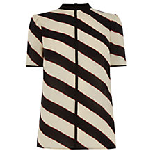 Buy Oasis Diagonal Stripe High Neck Top, Multi Online at johnlewis.com