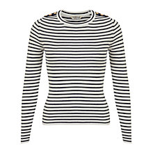 Buy Miss Selfridge Striped Button Jumper, Navy Online at johnlewis.com