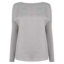 Buy Oasis Jacquard Animal Print Jersey Top, Pale Grey Online at johnlewis.com